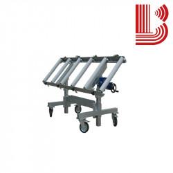 Carrello in acciaio inclinabile con rulli